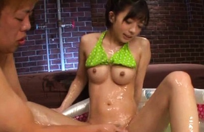 Urumi narumi asain chick is oiled before rough vagina fingering. Urumi Narumi Asain chick is oiled before rough cunt fingering